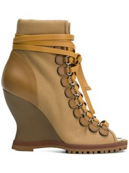 Chloe River Wedge Ankle Boots Brown