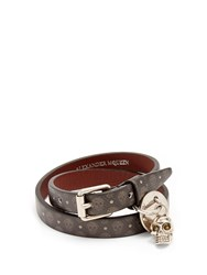 Alexander Mcqueen Skull Print Wraparound Leather Bracelet Black Multi
