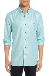 Ted Baker Men's London Laavno Extra Slim Fit Linen Blend Sport Shirt Teal