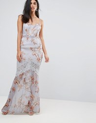 Hope And Ivy Floral Cami Maxi Dress With Eyelash Lace Trim Gray