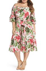 Gabby Skye Plus Size Women's Off The Shoulder Floral Midi Dress Green Pink