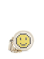 Anya Hindmarch Pixel Smiley Leather Coin Purse Beige