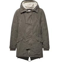 Yves Salomon Shearling Trimmed Cotton Hooded Parka With Detachable Down Lining Army Green