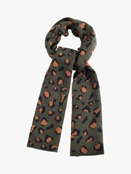 French Connection Contrast Leopard Print Scarf Khaki Brown