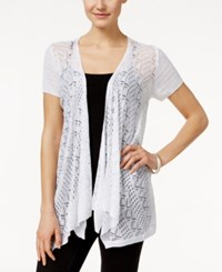 Styleandco. Style And Co. Petite Pointelle Knit Open Front Cardigan Only At Macy's Bright White
