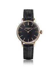 Locman 1960 Rose Gold Pvd Stainless Steel Women's Watch W Black Croco Embossed Leather Strap