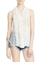 Women's Free People 'Higher Ground' Sleeveless Chiffon Blouse Ivory