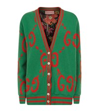 Gucci Logo Knit Cardigan Female Green