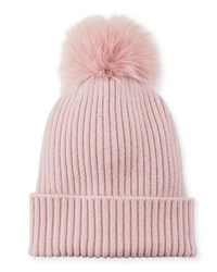 Sofia Cashmere Ribbed Beanie With Fox Fur Pompom Dusty Rose