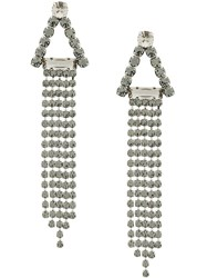 Alberta Ferretti Embellished Dangly Earrings Silver