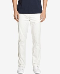 Dkny Men's Slim Fit Tapered Leg Sateen Pants Snow White