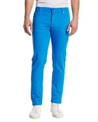 Kiton Twill Five Pocket Pants Capri Blue Light Blue