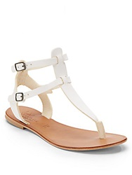 Joie A La Plage Pradeaux Leather T Strap Thong Sandals White