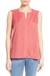 Women's Gibson Contrast Trim Print Sleeveless Top Coral Blue