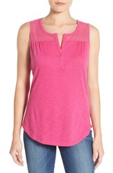 Women's Nydj Knit Tank With Eyelet Yoke Neon Pop