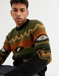 New Look Brushed Aztec Pattern Jumper In Khaki Green