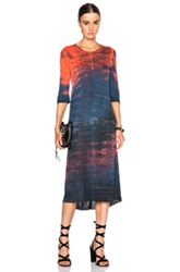 Raquel Allegra Jersey Basic Tee Dress In Blue Red Ombre And Tie Dye
