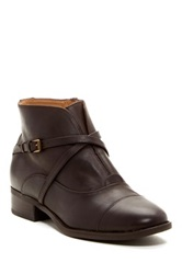 Isaac Mizrahi Straps Leather Boot Brown