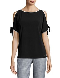 Ivanka Trump Boatneck Cold Shoulder Top Black
