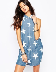 One Teaspoon Le Punk Shirt Dress In Star Print Dallas