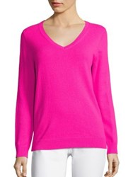 Vineyard Vines Merino Wool V Neck Sweater Bright Pink Royal Ocean