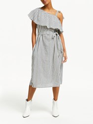 And Or Petra Stripe Midi Dress White Black