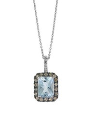 Effy Aquamarine Diamond And 14K White Gold Pendant Necklace White Gold Blue