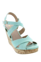 Restricted Rattle Open Toe Wedge Green