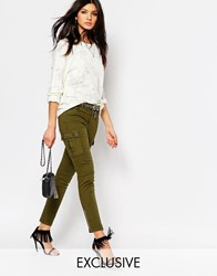 Northmore Denim Northmore Skinny Cargo Pants With Exposed Ankle Zip Khaki Green