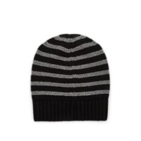 Barneys New York Striped Cashmere Hat Blk. Stripe Blk.Stripe
