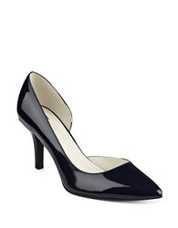 Anne Klein Yolden Patent Leather Half D'orsay Pumps Navy Blue
