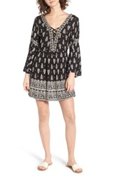 Angie Women's Lace Up Bell Sleeve Dress