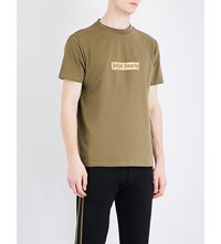Palm Angels Glitter Logo Cotton Jersey T Shirt Military Green Gold