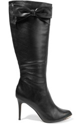 Lucy Choi London Blenheim Bow Embellished Leather Boots Black