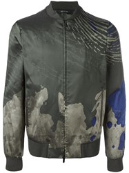 Emporio Armani Watercolour Print Jacket Green