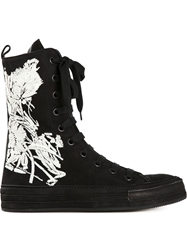 Ann Demeulemeester Flower Hi Top Sneakers Black