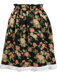 Msgm Flared Floral Skirt Black