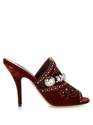 Miu Miu Crystal Embellished Velvet Mules Dark Orange