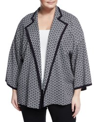 Misook Geometric Print Knit Jacket Blue White