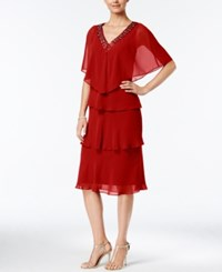 Si Fashions Sl Tiered V Neck Dress And Embellished Cape Dark Red