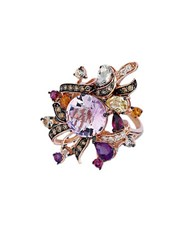 Le Vian Crazy Chocolate Diamond Vanilla Diamond Semiprecious Stone And 14K Rose Gold Ring 0.5 Tcw Purple