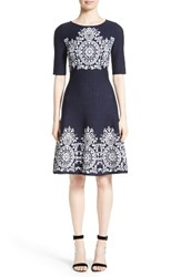 St. John Women's Collection Nellore Jacquard Knit Fit And Flare Dress