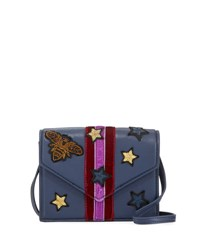 Cynthia Rowley Felix Bee Patch Crossbody Bag Blue Red