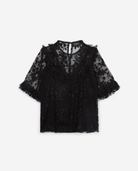 The Kooples Black Lace Top With Panel And Frills
