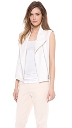 Vince Asymmetrical Vest With Leather White