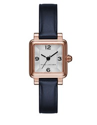 Marc Jacobs Vic Rose Goldtone Stainless Steel And Leather Three Hand Strap Watch Navy Blue