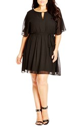 Plus Size Women's City Chic Metal Bar Tunic Black