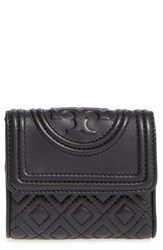 Tory Burch Women's 'Mini Fleming' Quilted Lambskin Leather Wallet Black
