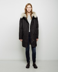 Army By Yves Saloman Coyote Fur Lined Cotton Parka Black