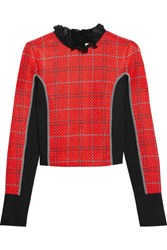 3.1 Phillip Lim Silk Chiffon Trimmed Twill And Tweed Top Red